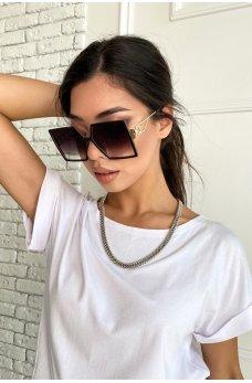 Коричневые солнцезащитные женские очки квадратной формы