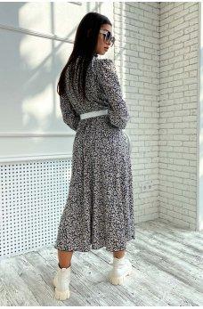Черное шифоновое платье миди с кофейным принтом