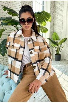 Оригинальная клетчатая куртка-рубашка цвета кофе