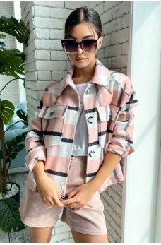 Светло-розовая гламурная куртка-рубашка