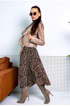 Бежевая кожаная куртка-косуха для настоящих модниц