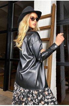 Черная стильная молодежная кожаная рубашка