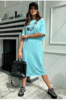 Голубое стильное принтованное платье миди