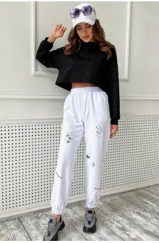 Белые повседневные стильные брюки с принтом