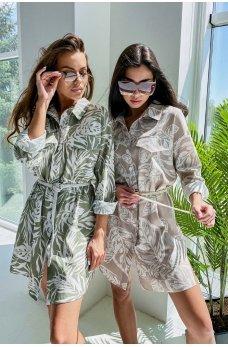 Оливковое льняное короткое платье-рубашка