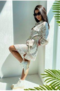 Кофейное стильное молодежное платье-рубашка