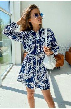 Синее удобное короткое летнее платье