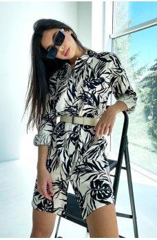 Бежево-черное изящное платье-рубашка