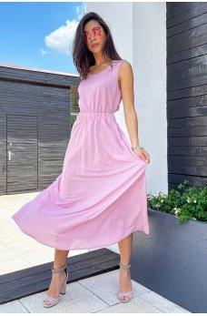 Розовое легкое коттоновое платье миди