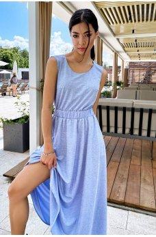 Голубое воздушное однотонное платье
