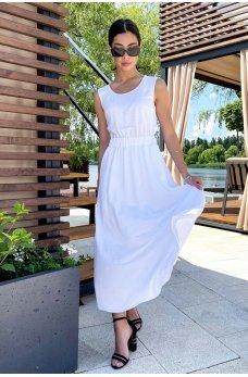 Белое изящное женское платье миди из коттона