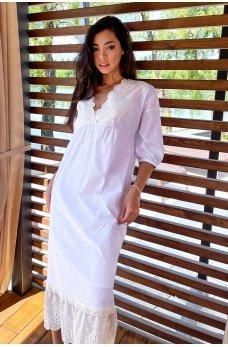 Белое утонченное свободное платье миди с кружевом