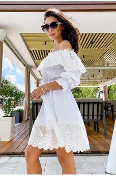 Белое игривое короткое платье с кружевной рюшей