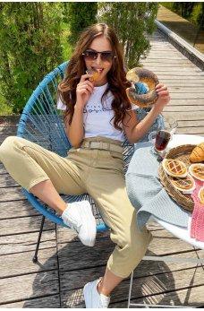 Оригинальные джинсовые брюки бананы цвета кофе