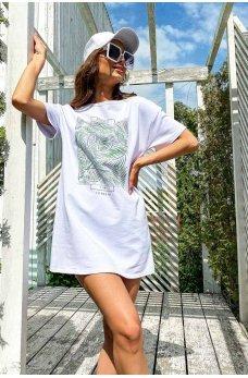 Белое молодежное короткое платье футболка