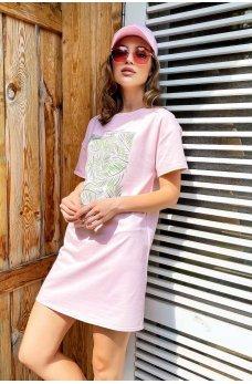 Светло-розовое актуальное летнее платье футболка