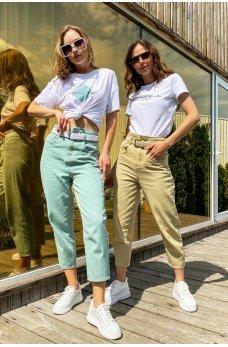 Оливковые трендовые джинсовые брюки бананы