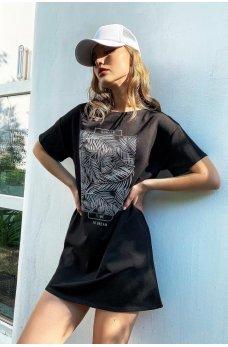 Черное короткое актуальное платье футболка с принтом