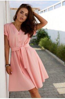 Персиковое романтическое легкое платье