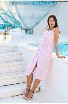 Розовое привлекательное платье-сарафан миди