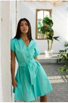 Бирюзовое яркое летнее коттоновое платье
