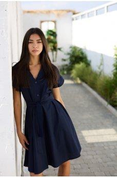 Темно-синее прогулочное утонченное платье