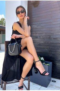 Черное гламурное роскошное платье миди