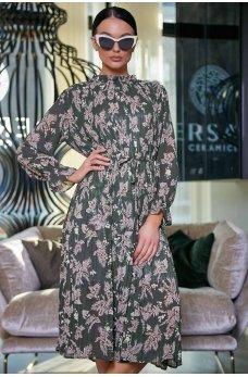 Оливковое изумительное принтованное платье в ретро стиле