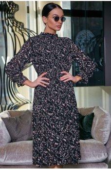 Черное гармоничное платье миди с мелким цветочным принтом