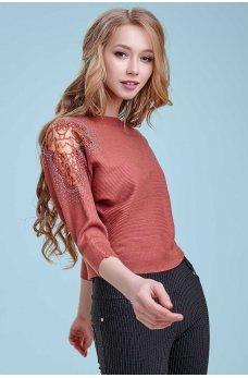 Привлекательный вязаный  джемпер цвета марсала