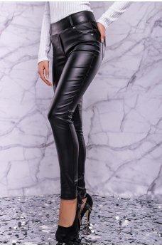 Черные гламурные кожаные лосины на флисе