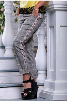 Серые молодежные клетчатые брюки с лампасами