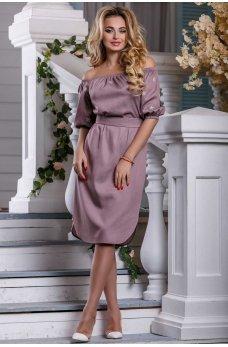Розово-коричневое нарядное платье с вышивкой
