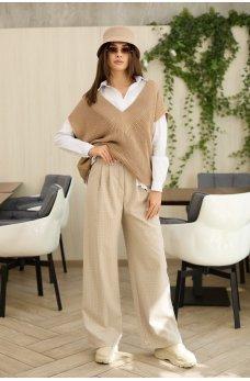 Широкие клетчатые женские брюки цвета кофе