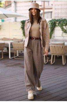 Коричневые молодежные брюки с принтом в клетку
