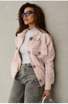Розовая стильная куртка-рубашка с принтом в клетку