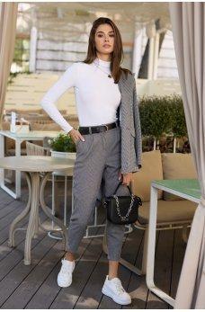 Черные модные укороченные брюки с карманами