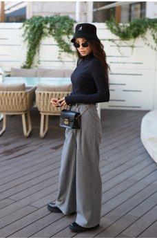 Серые женственные классические брюки на высокой посадке