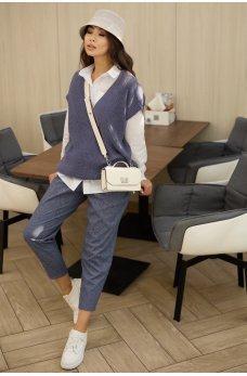 Синие эффектные укороченные брюки