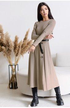 Женственное актуальное платье миди цвета кофе