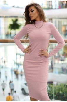 Розовое однотонное трикотажное платье миди