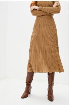 Плиссированная юбка бежевого цвета
