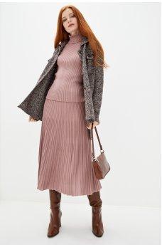 Плиссированная юбка пудрового цвета