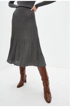 Плиссированная юбка серого цвета