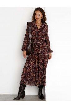 Шикарное шифоное платье коричневого оттенка