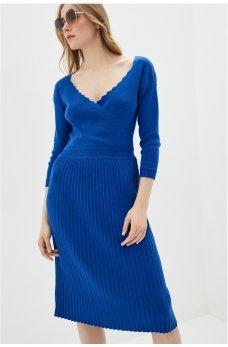 Вязаное миди-платье с плиссированной юбкой