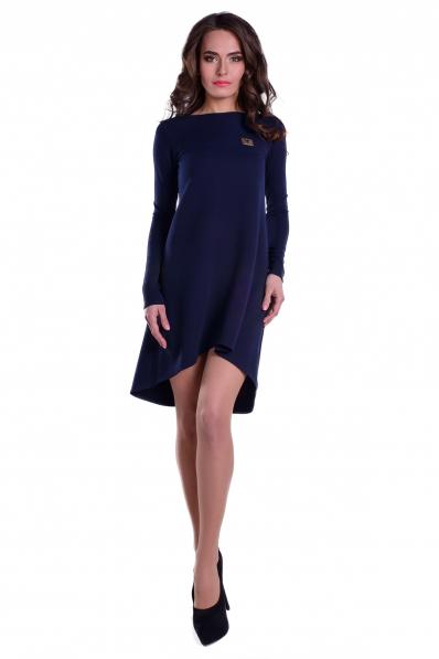Темно-синее асимметричное платье