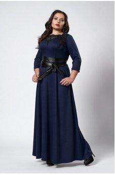 Довге темно-синє плаття з поясом