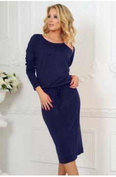 Темно-синее платье миди