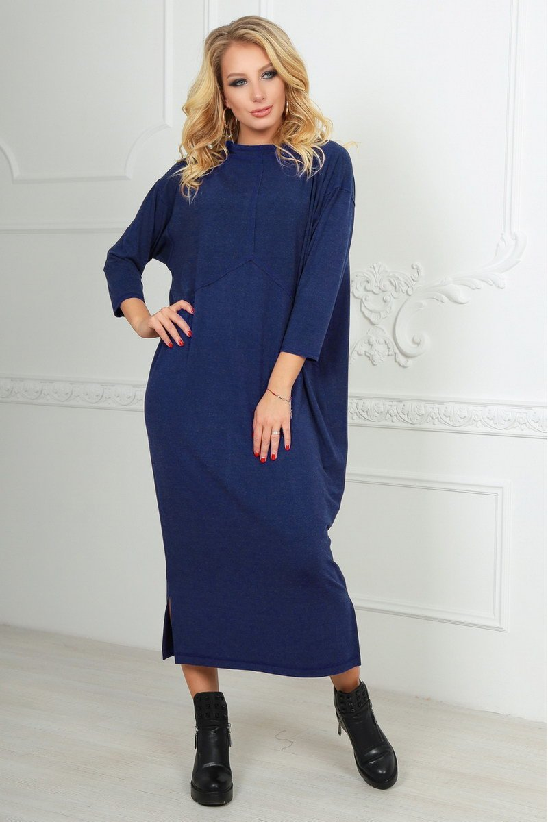 f33836b084d Темно-синее платье оверсайз